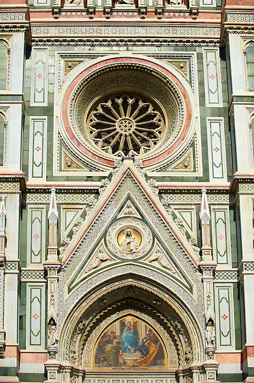 The right door mosaic and the fine Gothic architectural detail and Rose window of  the  of the Gothic-Renaissance Duomo of Florence,  Basilica of Saint Mary of the Flower; Firenza ( Basilica di Santa Maria del Fiore ).  Built between 1293 & 1436. Italy .<br /> <br /> Visit our ITALY PHOTO COLLECTION for more   photos of Italy to download or buy as prints https://funkystock.photoshelter.com/gallery-collection/2b-Pictures-Images-of-Italy-Photos-of-Italian-Historic-Landmark-Sites/C0000qxA2zGFjd_k<br /> .<br /> <br /> Visit our MEDIEVAL PHOTO COLLECTIONS for more   photos  to download or buy as prints https://funkystock.photoshelter.com/gallery-collection/Medieval-Middle-Ages-Historic-Places-Arcaeological-Sites-Pictures-Images-of/C0000B5ZA54_WD0s