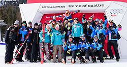 January 19, 2018 - Cortina D'Ampezzo, Dolimites, Italy - Julia Mancuso of United States of America and whole Amrican women alpine skiing team including Lindsey Vonn and Mikaela Shiffrin showing support for Julia at the ending of her professional skiing career at the Cortina d'Ampezzo FIS World Cup in Cortina d'Ampezzo, Italy on January 19, 2018. (Credit Image: © Rok Rakun/Pacific Press via ZUMA Wire)