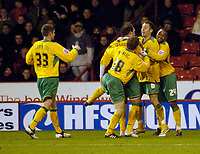 Photo: Jed Wee.<br />Sheffield United v Norwich City. Coca Cola Championship.<br />26/12/2005.<br />Norwich celebrate Chris Morgan's own goal.