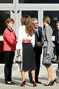 MADRID; SPAIN; 2015; NOVEMBER 20 <br /> <br /> Queen Letizia with Queen Rania of Jordan during the workshop at the Center for Molecular Biology Severo Ochoa; which took place in Cantoblanco Campus of the Autonomous University of Madrid<br /> ©Exclusivepix Media