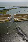 Nederland, Noord-Holland, Enkhuizen, 14-07-2008; schutluis in de Houtribdijk (zie ook andere foto onder deze naam); . .luchtfoto (toeslag); aerial photo (additional fee required); .foto Siebe Swart / photo Siebe Swart.