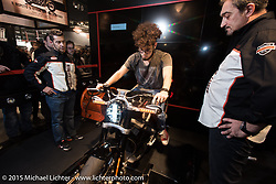 Live Wire bike in the Harley-Davidson display at EICMA, the largest international motorcycle exhibition in the world. Milan, Italy. November 19, 2015.  Photography ©2015 Michael Lichter.