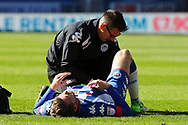 Nick Powell of Wigan Athletic is treated for an injury. EFL Skybet Championship match , Wigan Athletic v Cardiff city at the DW Stadium in Wigan, Lancs on Saturday 22nd April 2017.<br /> pic by Chris Stading, Andrew Orchard sports photography.