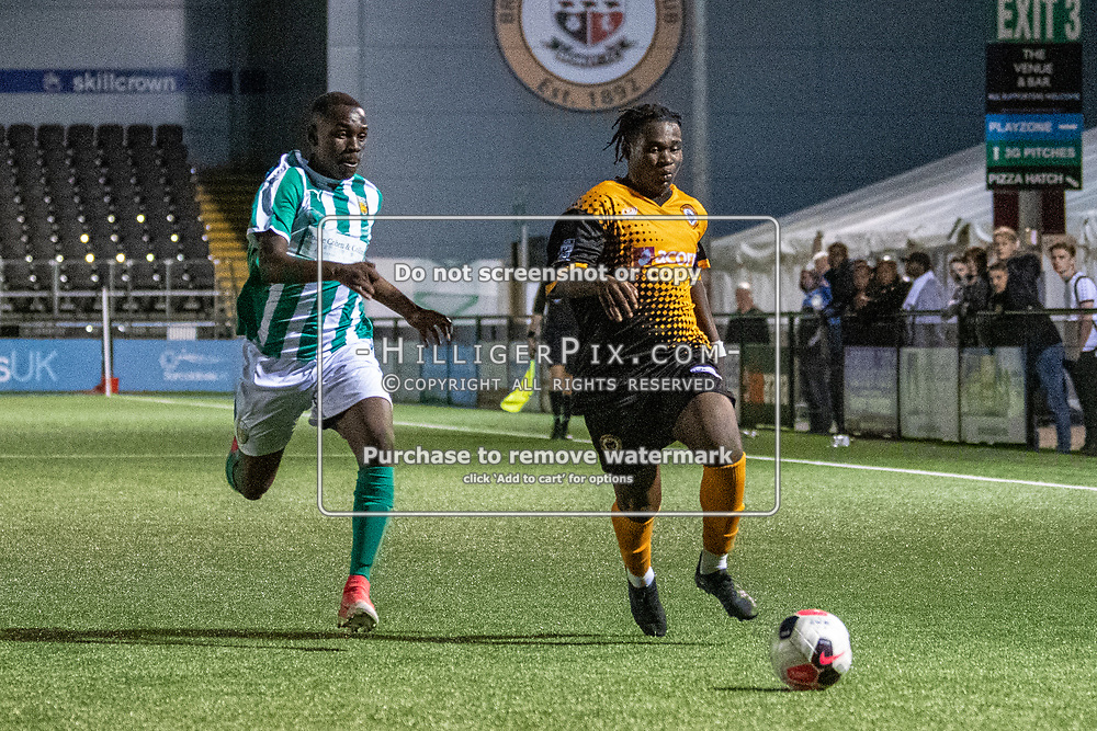 BROMLEY, UK - SEPTEMBER 04: The FA Youth Cup Preliminary Round match between Cray Wanderers FC and VCD Athletic at Hayes Lane on September 4, 2019 in Bromley, UK. <br /> (Photo: Jon Hilliger)