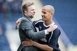 Falkirk's Farid El Alagui substituted near the end of the game, with Steven Pressley, Falkirk manager..Falkirk's Football Club's last game of season 2011-2012..Falkirk 3 v 2 Ayr United, 5/5/2012..©Michael Schofield..
