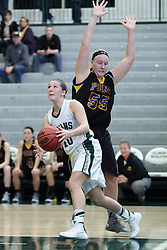 12 December 2015:  Ashley Schneider gets past Joann Wolfenberg during an NCAA women's basketball game between the Wisconsin Stevens Point Pointers and the Illinois Wesleyan Titans in Shirk Center, Bloomington IL