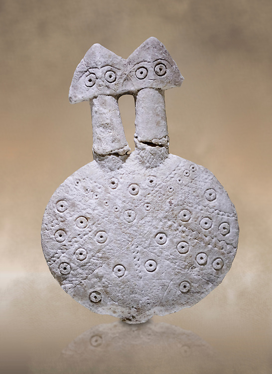 Bronze Age Anatolian two headed disk shaped alabaster Goddess figurine - 19th to 17th century BC - Kültepe Kanesh - Museum of Anatolian Civilisations, Ankara, Turkey.  Against a warn art background. .<br /> <br /> If you prefer to buy from our ALAMY PHOTO LIBRARY  Collection visit : https://www.alamy.com/portfolio/paul-williams-funkystock/kultepe-kanesh-pottery.html<br /> <br /> Visit our ANCIENT WORLD PHOTO COLLECTIONS for more photos to download or buy as wall art prints https://funkystock.photoshelter.com/gallery-collection/Ancient-World-Art-Antiquities-Historic-Sites-Pictures-Images-of/C00006u26yqSkDOM
