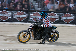 Roland Sands (#10) in the lead at the AMA Flat Track and Super Hooligan racing at Daytona Speedway's Flat Track during Daytona Bike Week's 75th Anniversary event. Ormond Beach, FL, USA. Thursday March 10, 2016.  Photography ©2016 Michael Lichter.