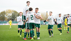 NEWPORT, WALES - Tuesday, November 19, 2019: Wales' Neco Williams celebrates scoring the second goal with teammates during the UEFA Under-19 Championship Qualifying Group 5 match between Kosovo and Wales at Rodney Parade. (Pic by Laura Malkin/Propaganda)
