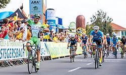 08.07.2016, Stegersbach, AUT, Ö-Tour, Österreich Radrundfahrt, 6. Etappe, Graz nach Stegersbach, im Bild Zielsprint, Nicola Ruffoni (ITA, Bardiani CSF, Etappensieger), Daniel Auer (AUT, Team Felbermayr Simplon Wels, 2. Platz) // Sprint Nicola Ruffoni (ITA Bardiani CSF stage winner) Daniel Auer (AUT Felbermayr-Simplon Wels 2nd place) during the Tour of Austria, 6th Stage from Gratz to Stegersbach, Austria on 2016/07/08. EXPA Pictures © 2016, PhotoCredit: EXPA/ JFK