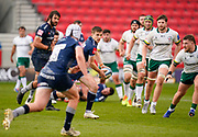 Sale Sharks AJ McGinty prepares to pass during a Gallagher Premiership Round 14 Rugby Union match, Sunday, Mar 21, 2021, in Eccles, United Kingdom. (Steve Flynn/Image of Sport)