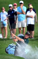 Phil Mickelson hits from a sand trap along the 15th green during first-round action of the PGA Championship at Quail Hollow Club on Thursday, Aug. 10, 2017, in Charlotte, N.C. (Photo by Jeff Siner/Charlotte Observer/TNS/Sipa USA)  *** Please Use Credit from Credit Field ***