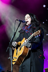 Edinburgh, United Kingdom. 9 December,2017. Sleep in the Park, held in Princes Street Gardens in Edinburgh, will see almost 9000 people sleep outdoors to raise money and awareness of homelessness. The event is organised by Social Bite and starts with a music concert. Amy MacDonald performs on stage.