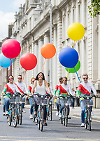 No repro fee<br /> 20/7/2017<br /> **Dublin City Council and JCDecaux Ireland announced today, 20th July 2017, that Just Eat will become the new commercial partner of dublinbikes in a three-year agreement.<br /> Under the new agreement the scheme will be known as Just Eat dublinbikes ***<br /> Picture shows ( centre,at front ) Amanda Roche Kelly Managing Director, Just Eat Ireland;with Just Eat dublin bikers as the Just Eat dublinbikes were unveiled at an announcement at Merrion Square today. The new look branded bikes will be visible on the streets of Dublin from the end of August. In addition to the livery of the bikes, the docking station screens, service vehicles, staff uniforms and associated inventory will all also be rebranded as Just Eat dublinbikes.Pic:Naoise Culhane-no fee