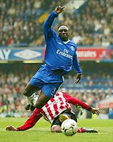 Photo: Scott Heavey, Digitalsport<br /> NORWAY ONLY<br /> <br /> Chelsea v Southampton. FA Barclaycard Premiership. 01/05/2004.<br /> Jimmy Floyd Hasselbaink is tripped by Danny Higginbotham
