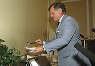 Washington DC 1982/08/01 Senator Ted Kennedy getting lunch at an event at the U.S. capitol.<br />Photo by Dennis Brack