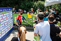 Matej MOHORIC of BAHRAIN VICTORIOUS talking to journalists during 1st Stage of 27th Tour of Slovenia 2021 cycling race between Ptuj and Rogaska Slatina (151,5 km), on June 9, 2021 in Slovenia. Photo by Matic Klansek Velej / Sportida