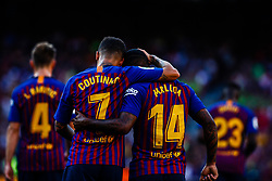 August 15, 2018 - Malcom Filipe from Brasil celebrating his goal with Philippe Coutinho from Brasil during the Joan Gamper trophy game between FC Barcelona and CA Boca Juniors in Camp Nou Stadium at Barcelona, on 15 of August of 2018, Spain. (Credit Image: © AFP7 via ZUMA Wire)