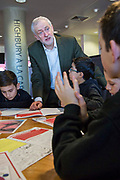 The Labour leader Jeremy Corbyn joins Islington school children at Arsenal's Emirates Stadium in London where he spoke at the Show Racism the Red Card event highlighting race issues and how children can address them. Emirates Stadium, London. United Kingdom. 8th February 2018.