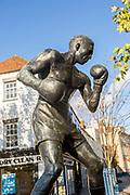 Statue sculpture of boxer Randolph Adolphus Turpin in town centre, Warwick, England, UK