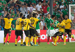 July 23, 2017 - Pasadena, California, U.S - Kemar Lawrence #20 of Jamaica scores a goal during the Mexico v. Jamaica Gold Cup Semifinal game at the Rose Bowl in Pasadena, California on Sunday July 23, 2017. Jamaica defeats Mexico, 1-0. (Credit Image: © Prensa Internacional via ZUMA Wire)