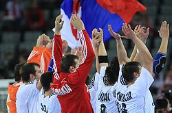Team of Slovakia celebrates after 21st Men's World Handball Championship 2009 Main round Group I match between National teams of Slovakia and Korea, on January 24, 2009, in Arena Zagreb, Zagreb, Croatia.  (Photo by Vid Ponikvar / Sportida)