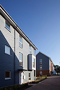 contemporary housing estate with wooden cladding on exterior