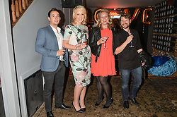 Left to right, IAN COPSEY, DANIELLE COYLE, PAULA COYLE and PAUL COUZENS at a party to celebrate the engagement of Natalie Coyle and Zafar Rushdie held at Library, St.Martin's Lane, London on 6th September 2014.