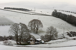 © Licensed to London News Pictures. 12/04/2021. Llanfihangel Nant Melan, Powys, Wales, UK. An unseasonal wintry landscape near Llanfihangel nant Melan in Powys, Wales, UK. Photo credit: Graham M. Lawrence/LNP