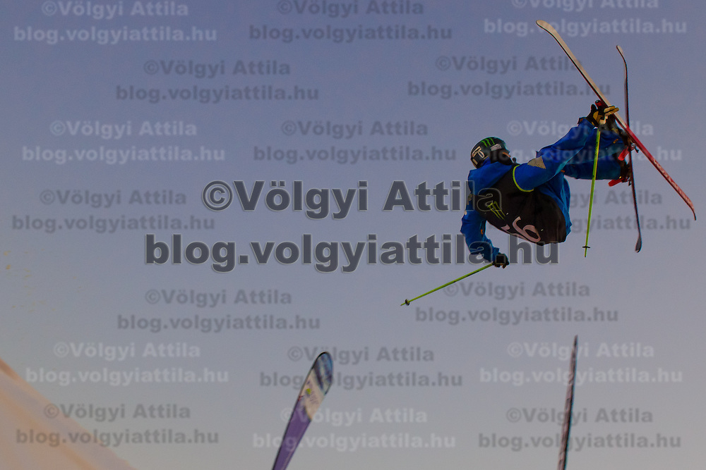Kevin Rolland from France performs his trick during the freestyle skiing competition held on the 35 meters high artificial ski jumping ramp on the Monster Energy Fridge Festival in central Budapest, Hungary on November 12, 2011. ATTILA VOLGYI