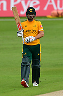 Chris Nash of Nottinghamshire celebrates his half century during the Vitality T20 Blast North Group match between Nottinghamshire County Cricket Club and Yorkshire County Cricket Club at Trent Bridge, Nottingham, United Kingdon on 31 August 2020.