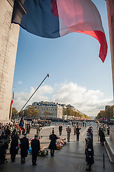 French President Francois Hollande arrives at the Tomb of the Unknown Soldier under the Arc de Triomphe during Armistice Day ceremonies marking the 97th anniversary of the end of World War I, near the Arc de Triomphe monument in Paris, France, 11 Novembe 2016