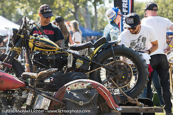 BF8 Invited builder Jeremiah Armenta's Love Cycles 1940 Harley-Davidson Knucklehead hillclimber ready to race as it is loaded into a Knucklehead sidecar at the Born Free 8 Motorcycle Show. Silverado, CA, USA. June 26, 2016.  Photography ©2016 Michael Lichter.
