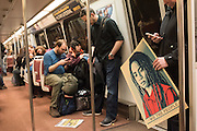 SUBWAY IN THE EVENING, Public going to the Inauguration of Donald Trump and demonstrators and various entrances,  Washington DC. 20  January 2017