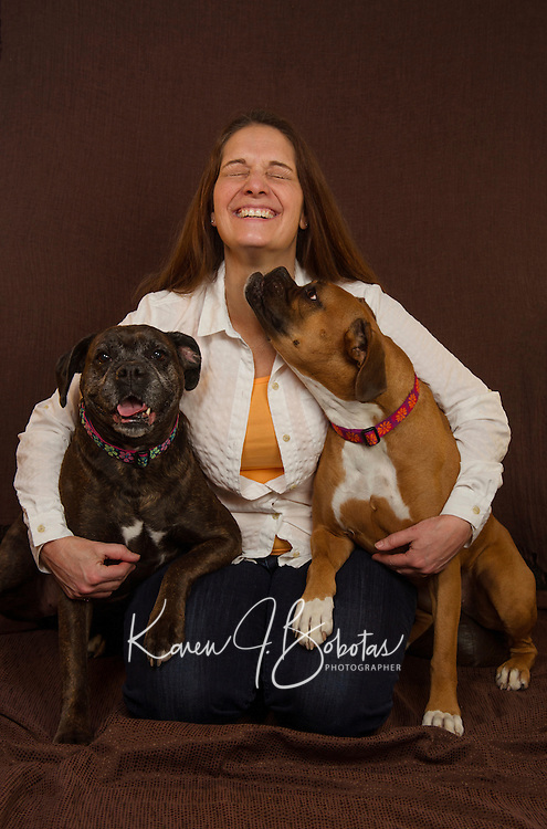 Joanie head shot session and pups.  ©2016 Karen Bobotas Photographer