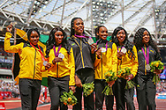 Jamaican Olympic 2008 and 2012 relay team after being upgraded to a Silver medal during the Muller Anniversary Games 2019 at the London Stadium, London, England on 21 July 2019.