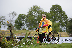 Fan waits on the hill for the race to arrive at the Crescent Vargarda - a 152 km road race, starting and finishing in Vargarda on August 13, 2017, in Vastra Gotaland, Sweden. (Photo by Sean Robinson/Velofocus.com)