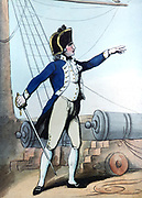 Naval Lieutenant', 1799.  Print by Thomas Rowlandson (1756-1827). Aquatint.