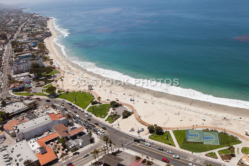 Main Beach in Laguna Aerial Stock Photo Facing South