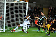 Swansea city's Wayne Routledge slides in to score the 1st goal.   Europa league group A match, Swansea city v FC St. Gallen at the Liberty Stadium in Swansea, South Wales on Thursday 3rd October 2013. pic by Andrew Orchard , Andrew Orchard sports photography,