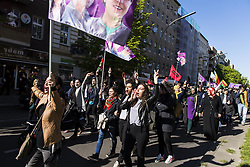 April 30, 2017 - Berlin, Berlin, Germany - Few hundred demonstrators during a demonstration under the motto 'No weapons for Erdogan! Long live the resistance in Sengal and Rojava' against German armament exports to Kurdish regions. The organizers demand solidarity with the victims of an attack by the Turkish Air Force on Kurdish regions. Before the start of the demonstration there were isolated temporary arrests. (Credit Image: © Jan Scheunert via ZUMA Wire)