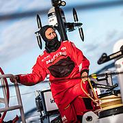 Leg 4, Melbourne to Hong Kong, day 02 on board MAPFRE, Tamara Echegoyen holding the main sheet. Photo by Ugo Fonolla/Volvo Ocean Race. 02 January, 2018.
