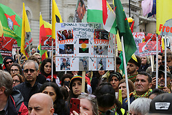© Licensed to London News Pictures. 20/10/2019. London, UK. Kurds and people of North-East Syria protest in central London against Turkey's invasion of North-East Syria. Photo credit: Dinendra Haria/LNP