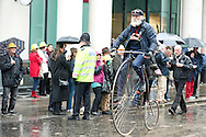 The Lord Mayor's Show, London, UK (9 November 2013). Man riding a penny-farthing, to promote the Tour de France Grand Depart which will be in Yorkshire in 2014.