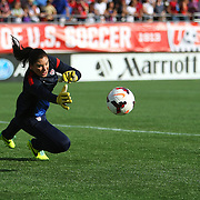 U.S. goalkeeper Hope Solo (1) makes a save in warmups, prior to a women's soccer International friendly match between Brazil and the United States National Team, at the Florida Citrus Bowl  on Sunday, November 10, 2013 in Orlando, Florida. The U.S won the game by a score of 4-1.  (AP Photo/Alex Menendez)
