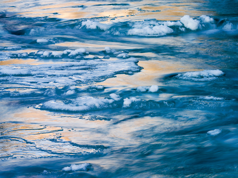 Licensing - Open Editions Prints<br /> Continuous sub-zero temperatures near Sun Valley Idaho produce beautiful ice flows in the Wood River near North Fork.