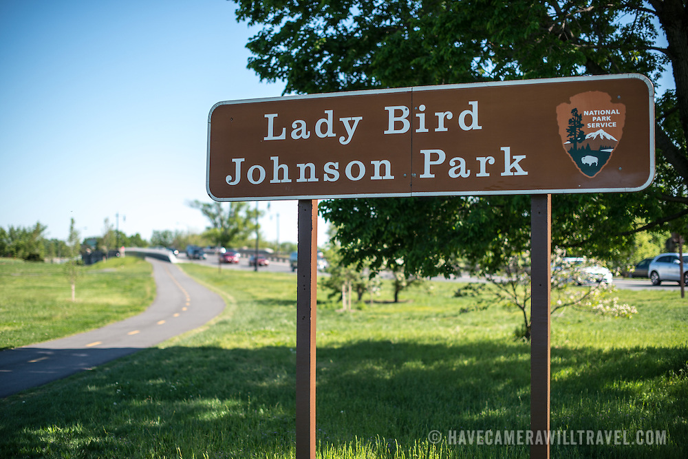 A National Park Service sign for Lady Bird Johnson Park on Columbia Island in Washington DC.
