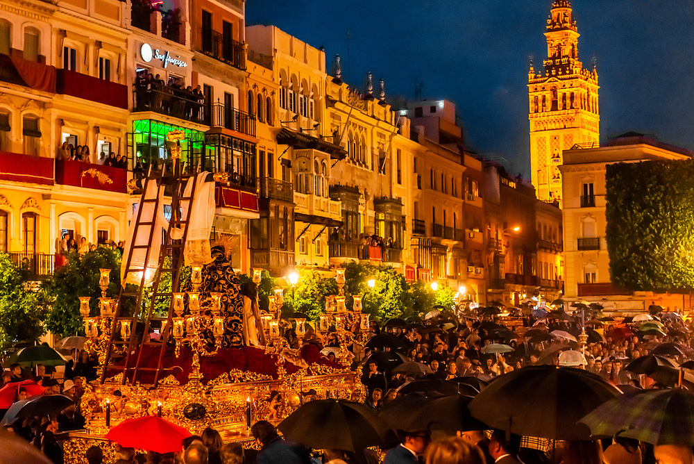 A paso (float) in the procession of the Brotherhood (Hermandad) El Baratillo, Holy Week (Semana Santa), Seville, Andalusia, Spain.