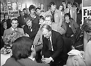 Image of Fianna Fáil leader Charles Haughey touring West Cork during his 1982 election campaign...04/02/1982.02/04/82.4th February 1982..Meeting the press:..Charles Haughey in deep contemplation as he considers questions from the media while supporters look on..
