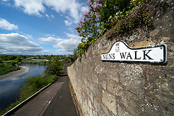 Nuns Walk footpath beside River Tweed in town of Coldstream in Scottish Borders, Scotland, UK